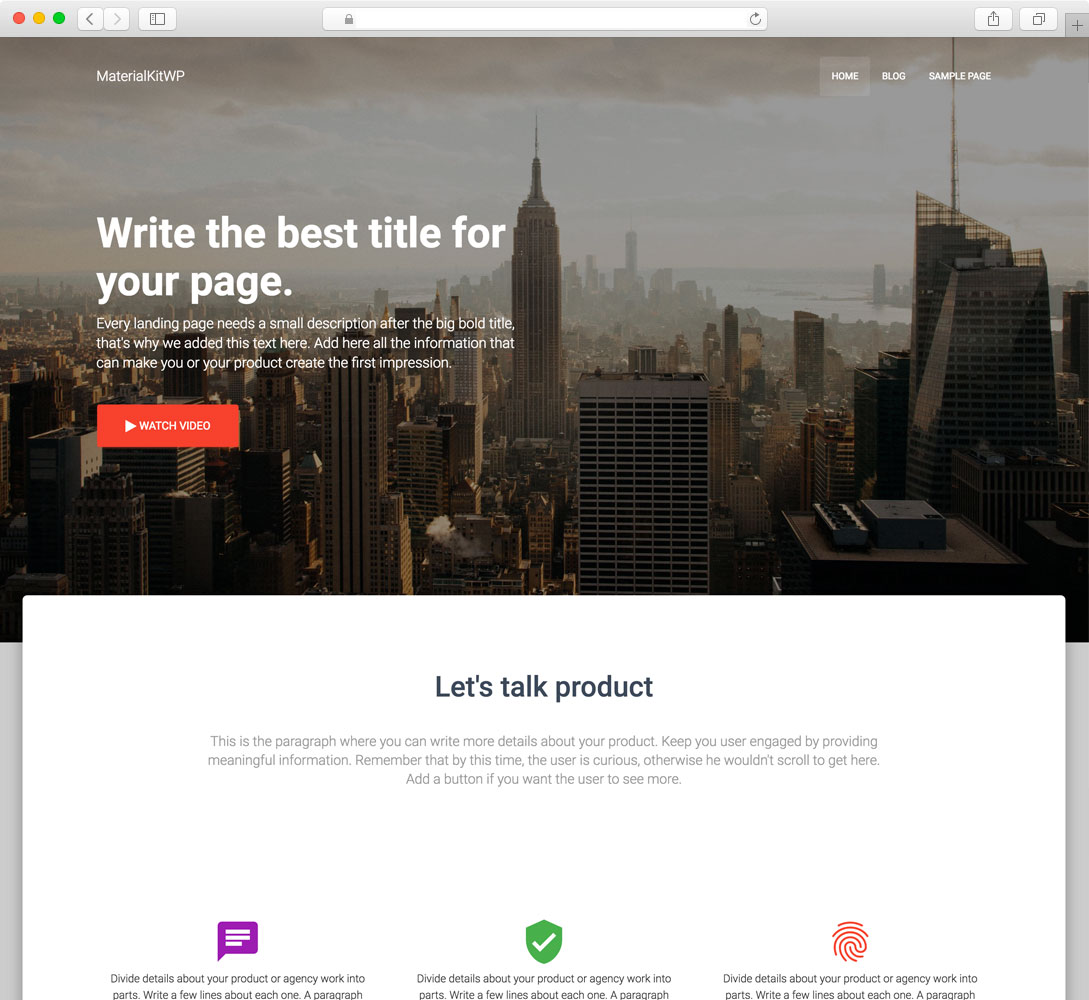 MaterialKit WordPress Theme