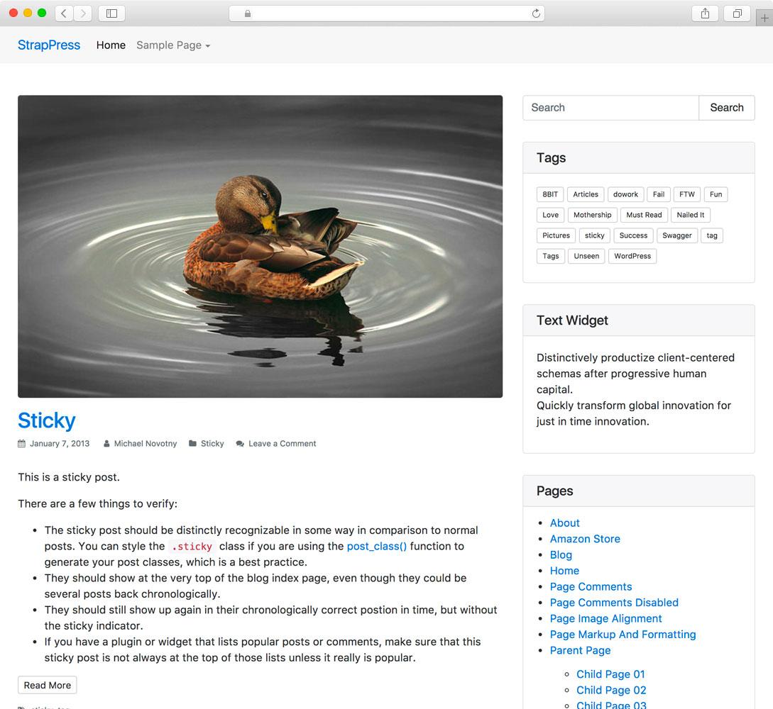 StrapPress - Bootstrap 4 WordPress Starter Theme